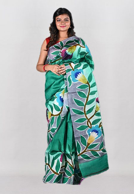 Deep Green Color Printed Pure Silk Saree (She Saree 1030)