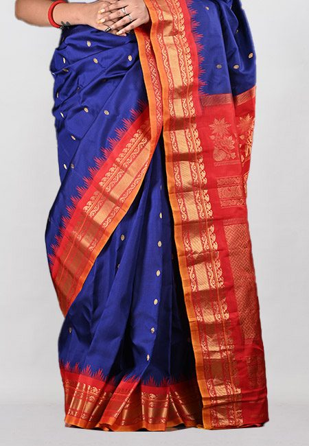 Navy Blue Color Contrast Pure Gadwal Silk Saree (She Saree 1031)