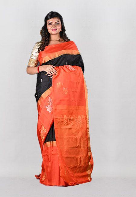 Black Color Contrast Pure Gadwal Silk Saree (She Saree 1033)