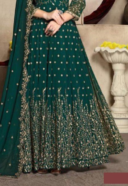 Bottle Green Color Georgette Designer Gown (She Gown 501)