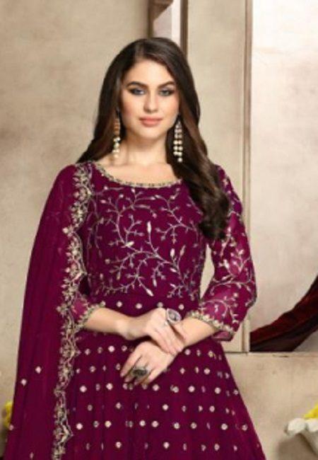 Deep Magenta Color Georgette Designer Gown (She Gown 502)