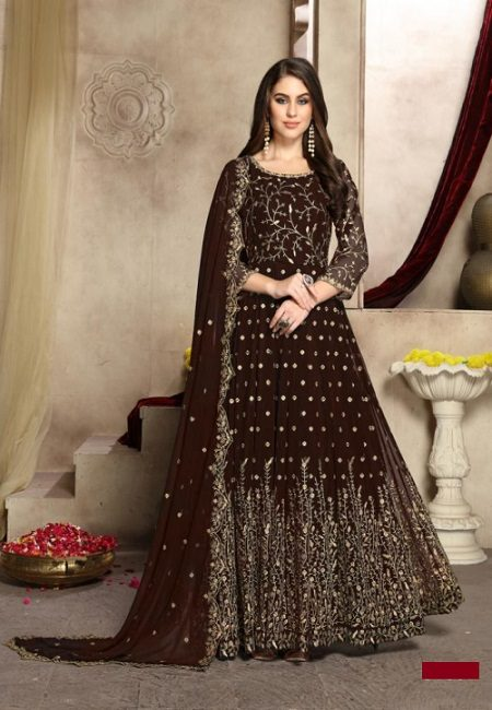 Deep Maroon Color Georgette Designer Gown (She Gown 503)