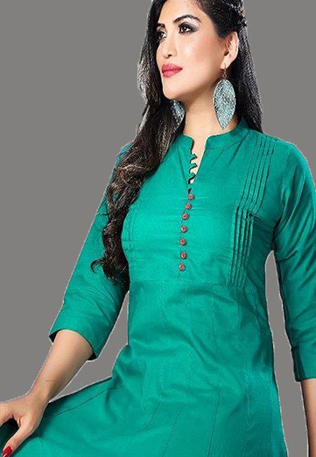 Emerald Green Color Handloom Anarkali Kurti (She Kurti 572)