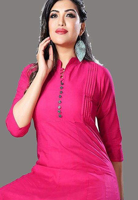Hot Pink Color Handloom Anarkali Kurti (She Kurti 574)