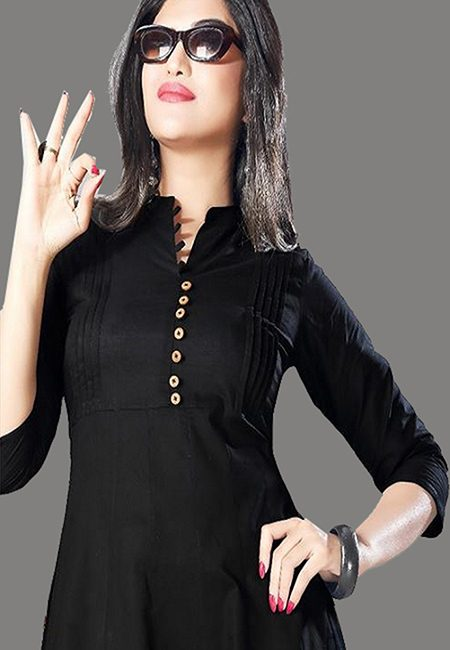 Black Color Handloom Anarkali Kurti (She Kurti 575)