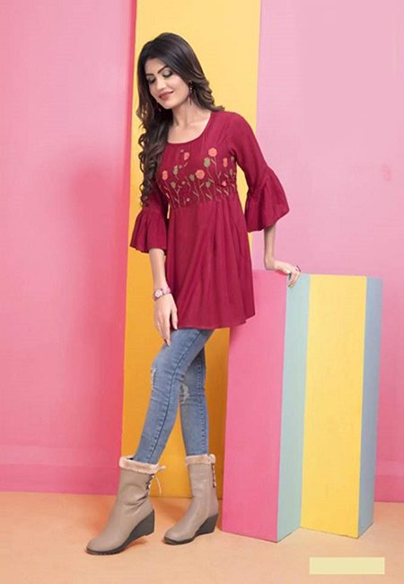Maroon Color Short Designer Top Kurti (She Kurti 592)
