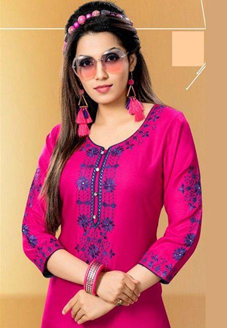 Fuchsia Pink Color Designer Rayon Embroidery Kurti (She Kurti 590)