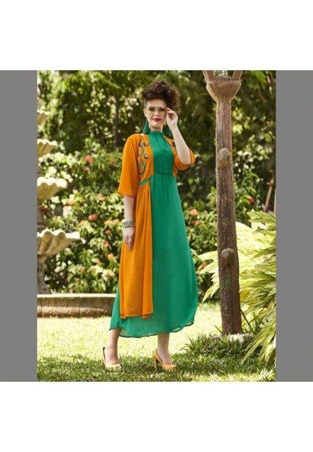 Sea Green Color Georgette Embroidered Designer Kurti (She Kurti 540)