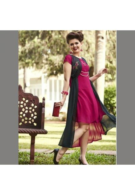 Fuchsia Pink Color Georgette Embroidered Designer Kurti (She Kurti 541)