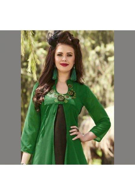 Green Color Georgette Embroidered Designer Kurti (She Kurti 539)