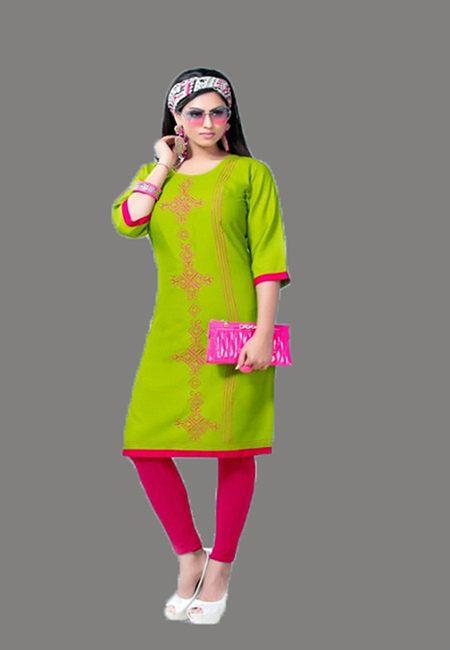 Olive Green Color Embroidery Rayon Kurti (She Kurti 564)