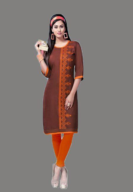 Chocolate Brown Color Embroidery Rayon Kurti (She Kurti 566)