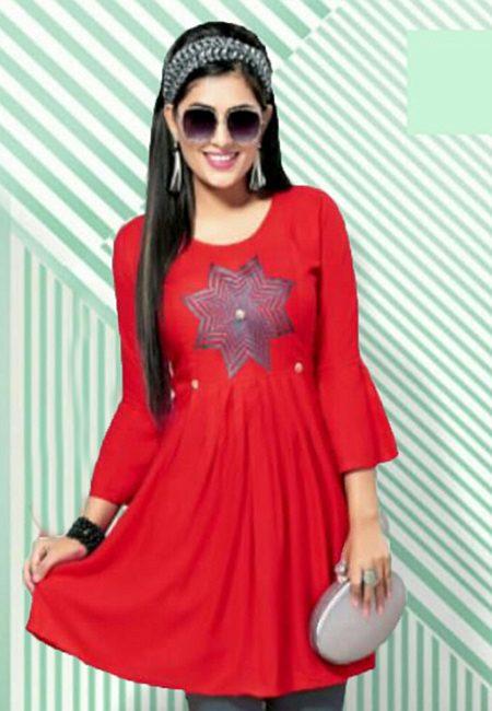 Red Color Short Designer Top Kurti (She Kurti 616)