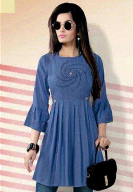 Turquoise Blue Color Short Designer Top Kurti (She Kurti 620)