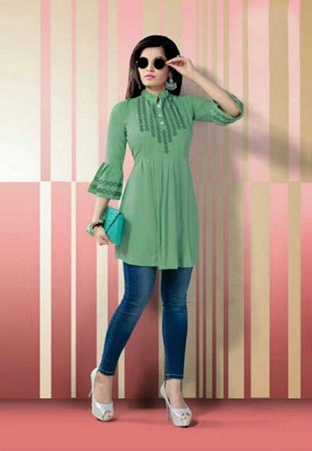 Pastel Green Color Short Designer Top Kurti (She Kurti 623)