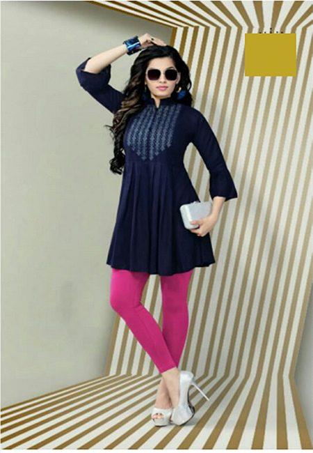 Navy Blue Color Short Designer Top Kurti (She Kurti 624)