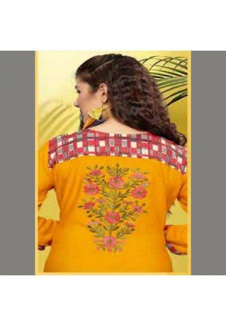 Mustard Color Embroidered Designer Kurti (She Kurti 532)