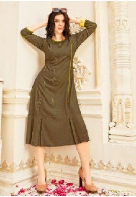 Deep Pista Green Color Anarkali Style Cotton Kurtu (She Kurti 646)