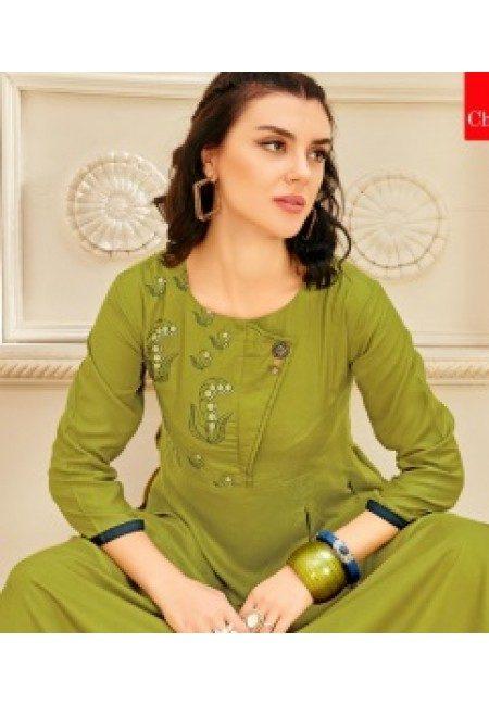 Pista Green Color Anarkali Style Cotton Kurti (She Kurti 652)