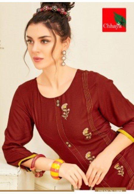 Maroon Color Anarkali Style Cotton Kurti (She Kurti 653)