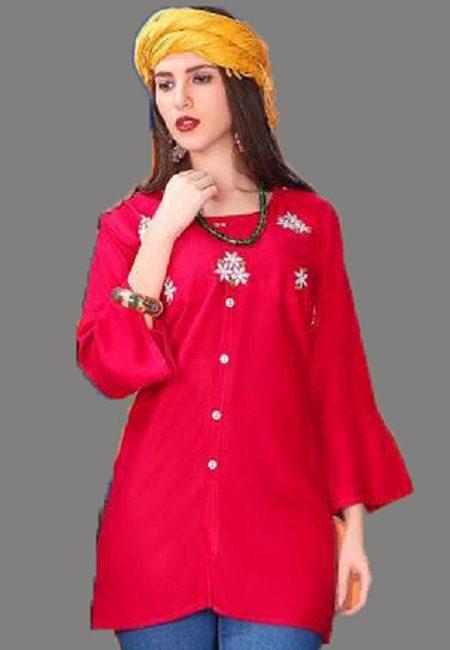Fuchsia Pink Color Short Designer Kurti (She Kurti 602)