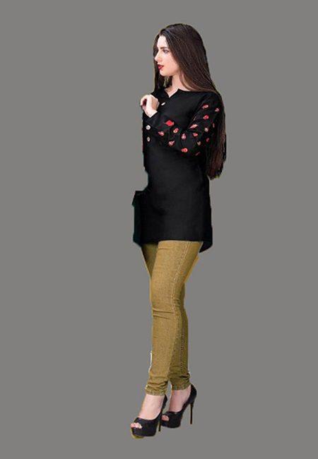 Black Color Short Designer Kurti (She Kurti 604)