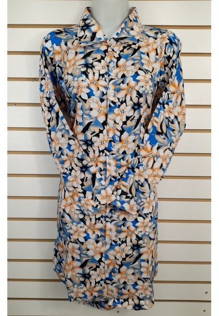 Turquoise Blue Color Printed Linen Top (She Kurti 638)