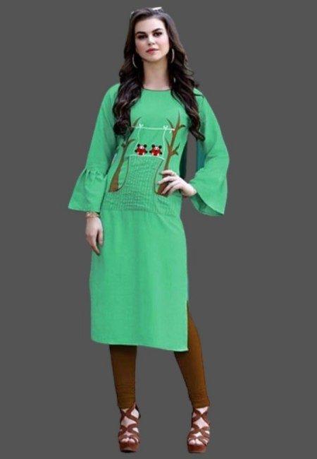 Green Color Emroidered Kurti (She Kurti 501)