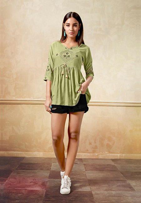 Olive Green Color Western Style Top Kurti (She Kurti 611)