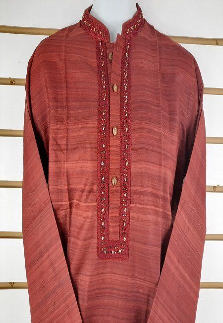 Maroon Regular Fit Silk Punjabi (She Boutique Punjabi 503)