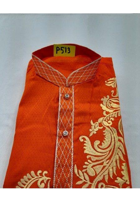 Orange Color Embroidery Regular Fit Cotton Punjabi (She Boutique Punjabi 513)