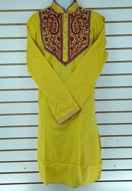 Yellow Color Embroidery Regular Fit Cotton Punjabi (She Boutique Punjabi 516)