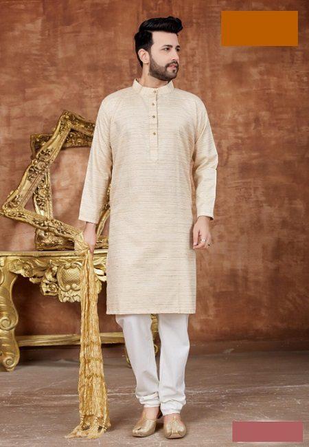 LightBeige Color Khadi Cotton Punjabi Set (She Punjabi 546)