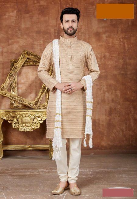Beige Color Khadi Cotton Punjabi Set (She Punjabi 553)