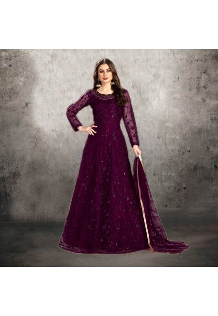 Wine Color Designer Floor Touch Salwar Suit (She Salwar 542)