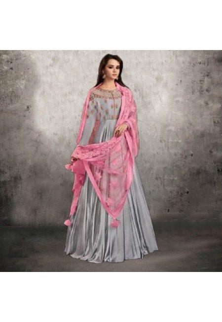 Steel Grey Color Designer Floor Touch Salwar Suit (She Salwar 550)