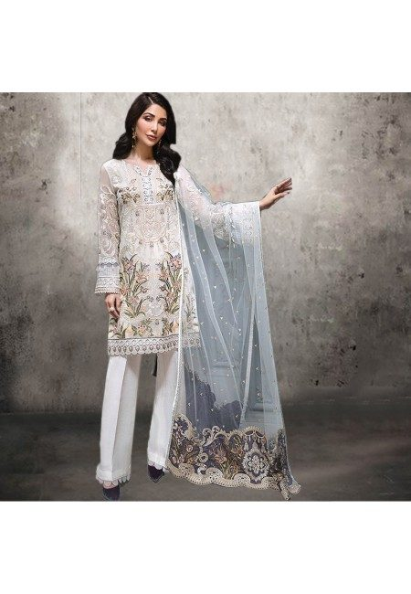 Off White Color Embroidery Salwar Suit (She Salwar 537)