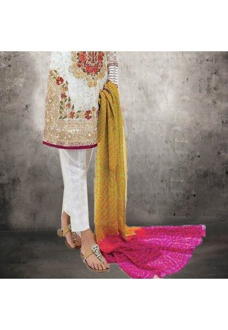 Off White Color Embroidery Salwar Suit (She Salwar 533)