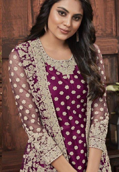 Magenta Color Embroidery Salwar Kameez (She Salwar 588)