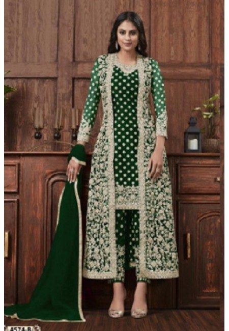 Bottle Green Color Embroidery Salwar Kameez (She Salwar 589)
