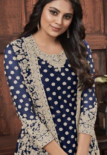 Navy Blue Color Embroidery Salwar Kameez (She Salwar 590)