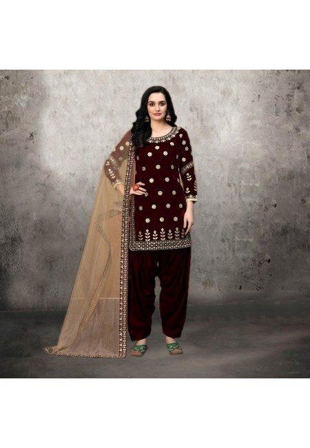 Maroon Color Designer Velvet Salwar Suit (She Salwar 531)