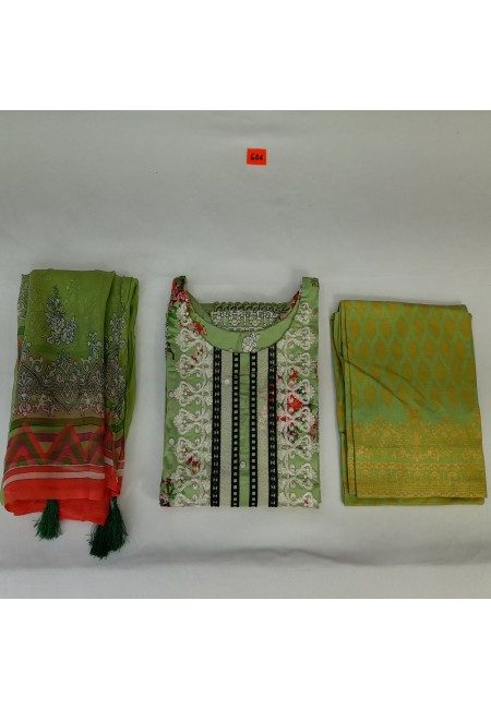 Olive Green Color Luxury Pakistani Lawn Suit (She Salwar 565)