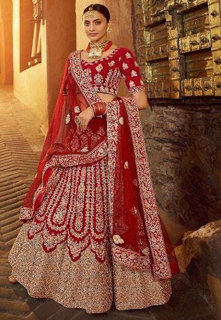 Bright Red Color Designer Velvet Bridal Lehenga (She Lehenga 503)