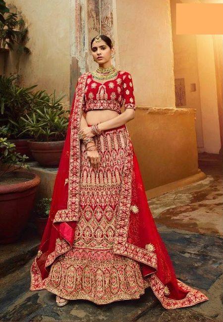Red Color Designer Velvet Bridal Lehenga (She Lehenga 504)