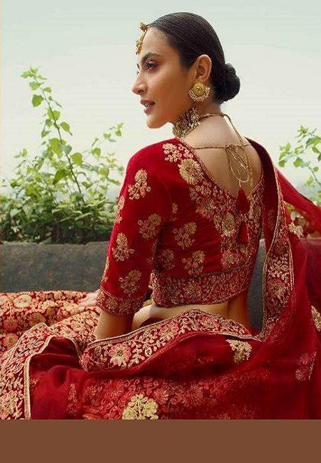 Red Color Designer Velvet Bridal Lehenga (She Lehenga 505)