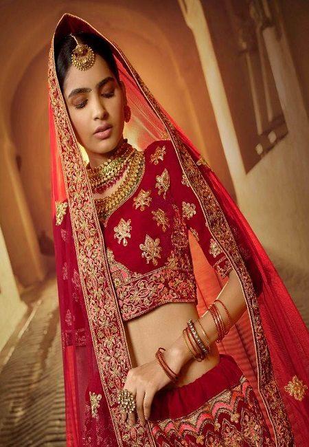 Red Color Designer Velvet Bridal Lehenga (She Lehenga 506)