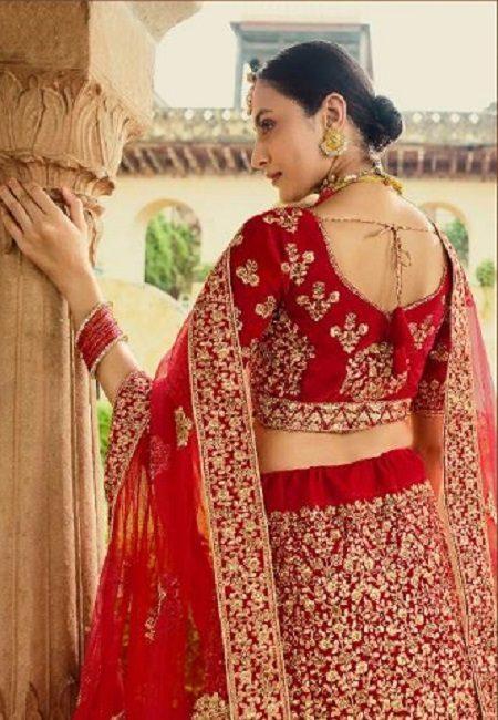Red Color Designer Velvet Bridal Lehenga (She Lehenga 507)