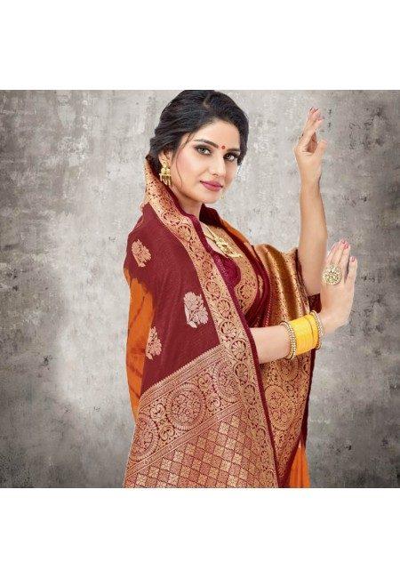 Mustard Color Bhagalpuri Silk Saree (She Saree 615)