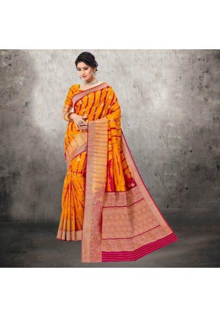 Orange Color Contrast Bhagalpuri Silk Saree (She Saree 617)